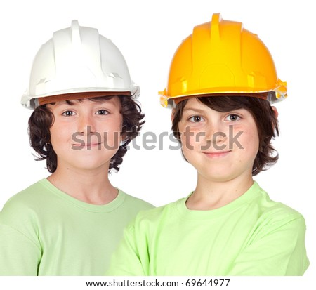 Couple of children with helmet isolated on a over white background