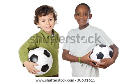 Couple of children with soccer ball a over white background