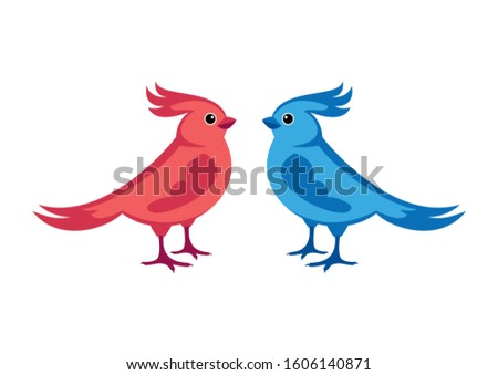 Couple of colorful birds illustration. Bird isolated on a white background. Birds icon set. Cute bird cartoon character. Colorful birds clip art