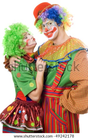 Couple of colorful clowns. Isolated on white