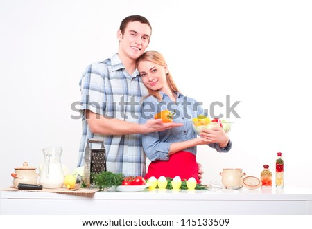 couple of cooking together, have fun time