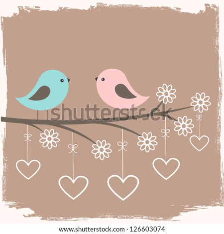 Couple of cute birds. Card for Valentine day in retro style. Raster version
