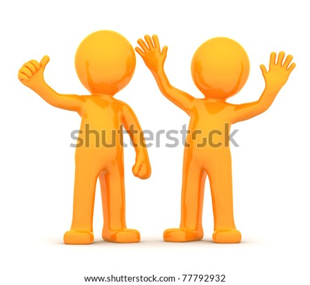 Couple of fun happy orange 3D persons rendered on white background