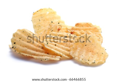 Couple of golden chips with greens isolated on white