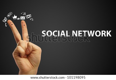 Couple of happy fingers smileys. Happy group of finger smileys with social chat sign and speech bubbles,icons. Fingers representing a social network.