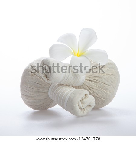 Couple of herb spa ball against white background