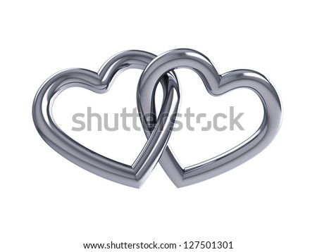 Couple of intersecting silver hearts , isolated on white
