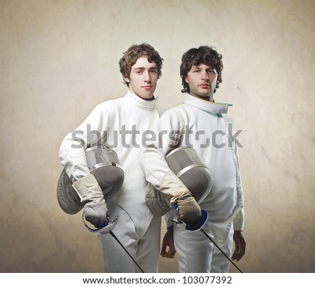 Couple of male fencers