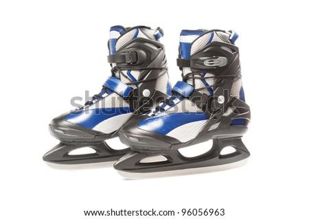 Couple of new ice skates on white background - stock photo