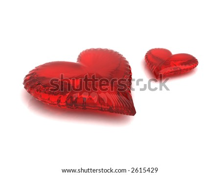 Couple of red hearts isolated on white
