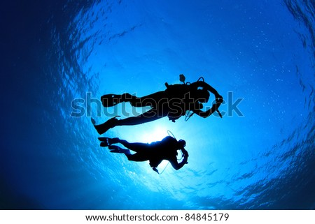 Couple of Scuba Divers silhouetted against sun