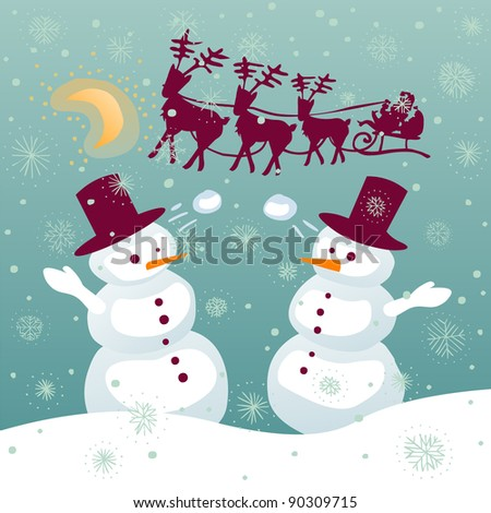 Couple of snowman playing with snowballs while santa is flying on a sledge with reindeer