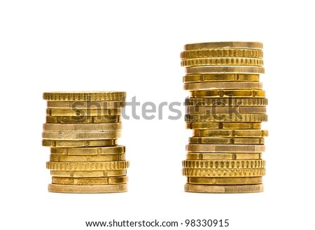 Couple of stacks of Euro coins combined, isolated on white.