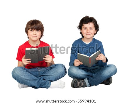 Couple of student children with a book isolated over white background