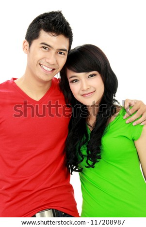 couple of teenager hug each other isolated on white background