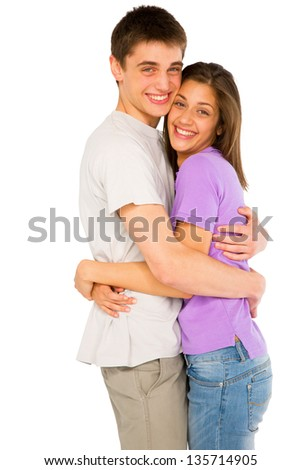 couple of teenagers embracing