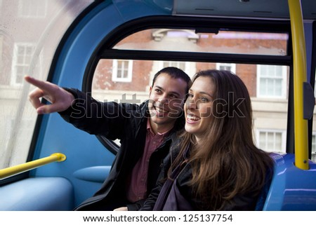 Couple of tourist travelling on a bus