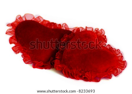 Couple of velvet hearts with curves, isolated
