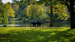 couple of woman and man sitting on the bench in autumn sunny park