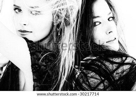 couple of women portrait in black and white