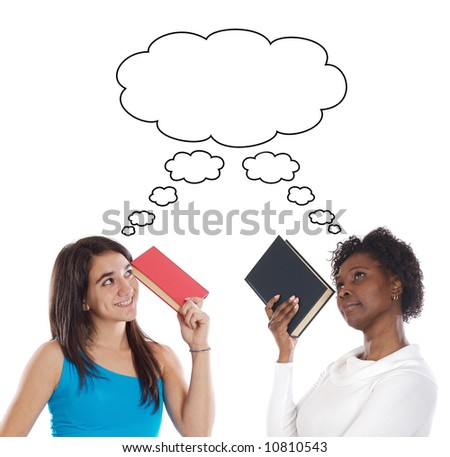 Couple of young girls thinking with books