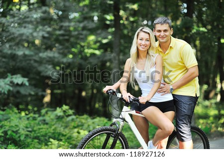 Couple on a bikes in countryside