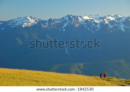 Couple on a hiiking trail in Olympic National Park in Washington State