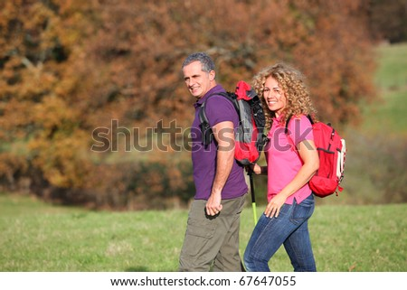 Couple on a hiking day