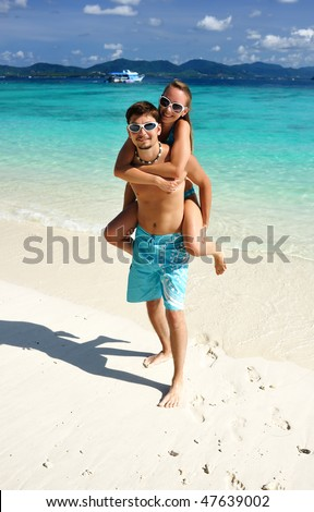 stock photo : Couple on a tropical beach