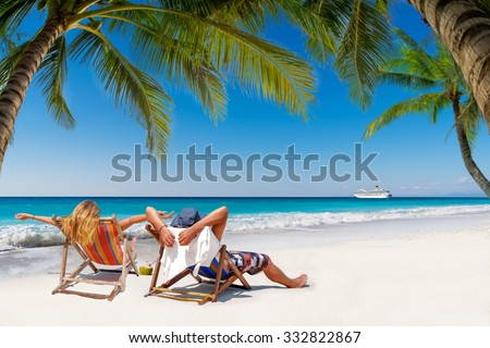 Couple on a tropical beach in the Maldives #332822867