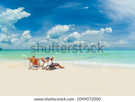 Couple on the beach at tropical resort on Phi Phi island