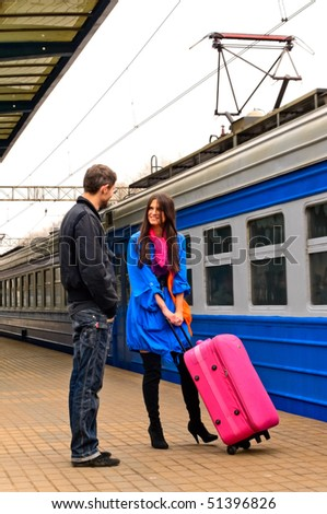 couple on the train station