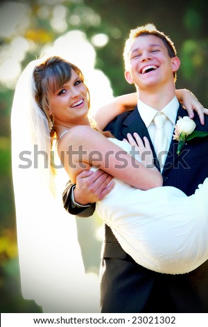 Couple on their wedding day