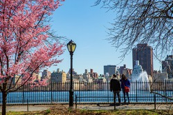 Couple overlooking the Jacqueline Kennedy Onassis Reservoir in New York Central Park