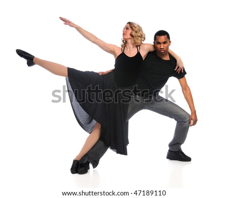 Couple performing dance isolated over white background