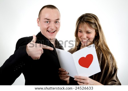 couple reading an happy poem white background