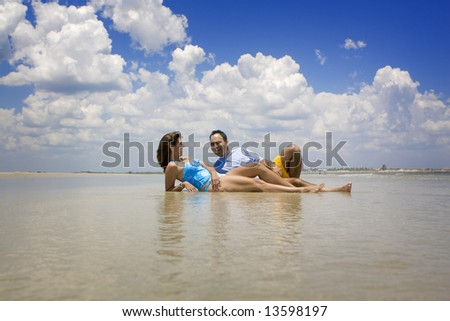 Couple relaxing at the beach.
