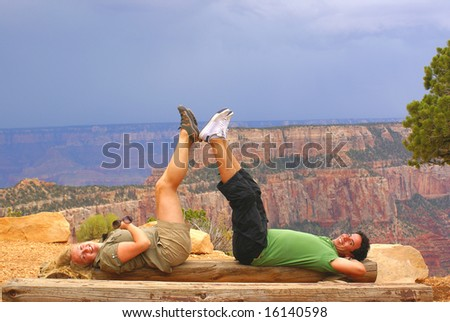 Couple relaxing in Grand Canyon