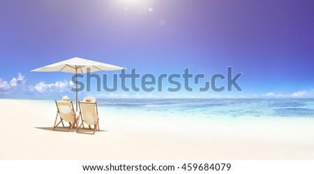 Couple Relaxing Tropical Beach Concept #459684079