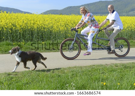 Couple riding tandem next to field with pet dog
