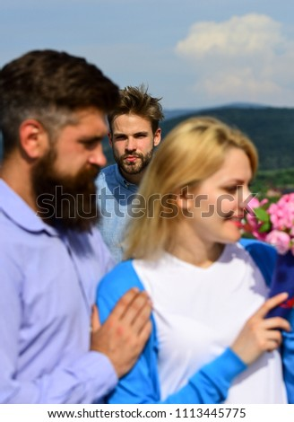 Couple romantic date lovers flirting. Lovers meeting outdoor flirt romance relations. Broken heart concept. Couple in love happy dating, jealous man watching woman prefers another macho instead him. #1113445775