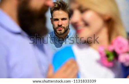Couple romantic date lovers flirting. Lovers meeting outdoor flirt romance relations. Couple in love happy dating, jealous man watching woman prefers another macho instead him. Broken heart concept. #1131833339