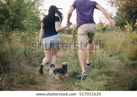 Couple running together. Sport runners jogging on park. Healthy lifestyle fitness concept