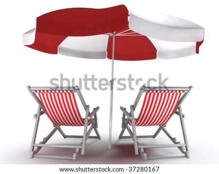 Couple's Place. Deck chairs and umbrella isolated on white background. 3D-rendered image