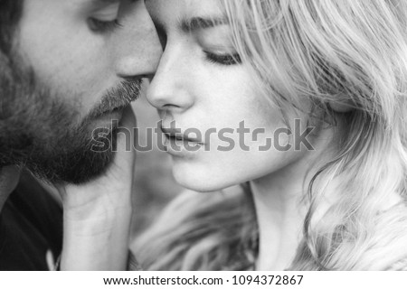 Couple secrets fantasy. Couple in love. Desire, sensuality, seduction concept. Couple in love . Man with beard hug woman with long hair. Flirt, relationship, romance. Intimacy #1094372867