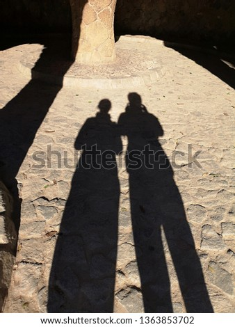 Couple shadow in snow under winter times. Secret Lovers, Lover Journeys. Romantic and relationship concept #1363853702