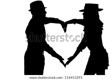 couple silouette photography forming a heart