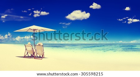 Couple Sitting Beach Summer Getaway Concept #305598215