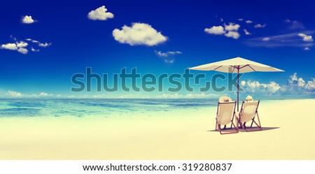 Couple Sitting Beach Summer Getaway Concept #319280837