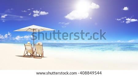 Couple Sitting Sunny Beach Life Concept #408849544